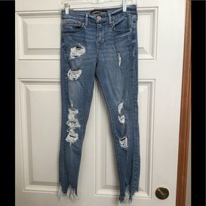 Express Ankle Legging Ripped Blue Jeans